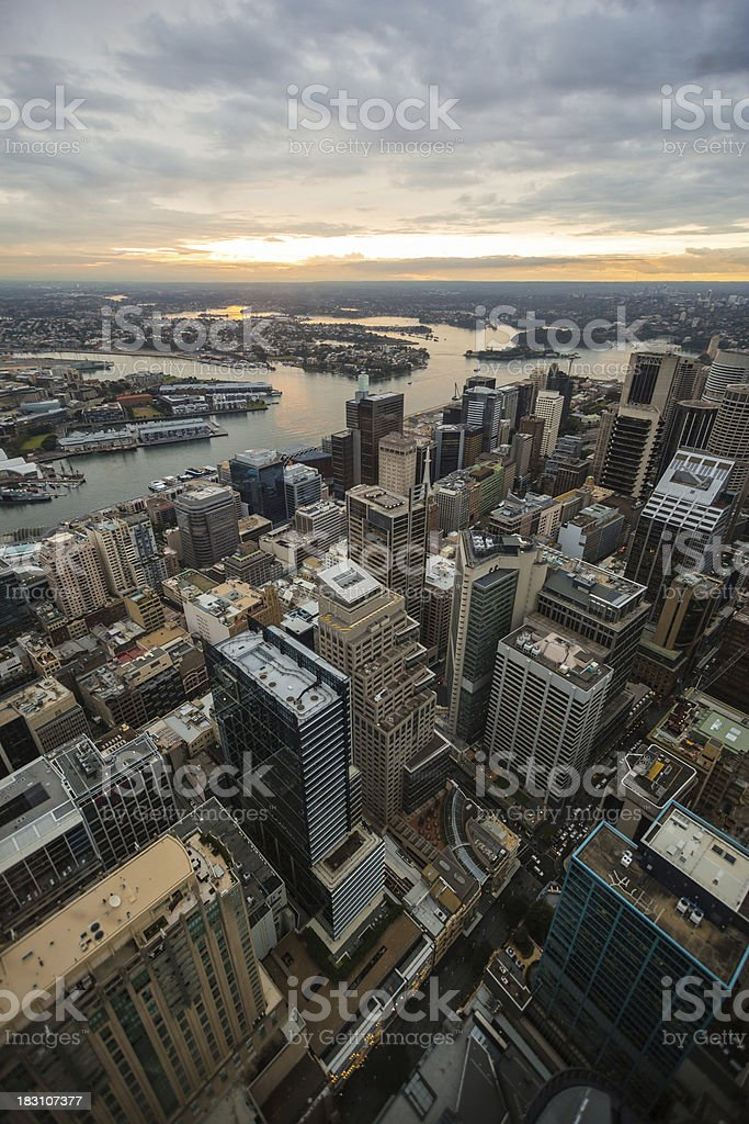 Sunset shot of Sydney, Australia stock photo