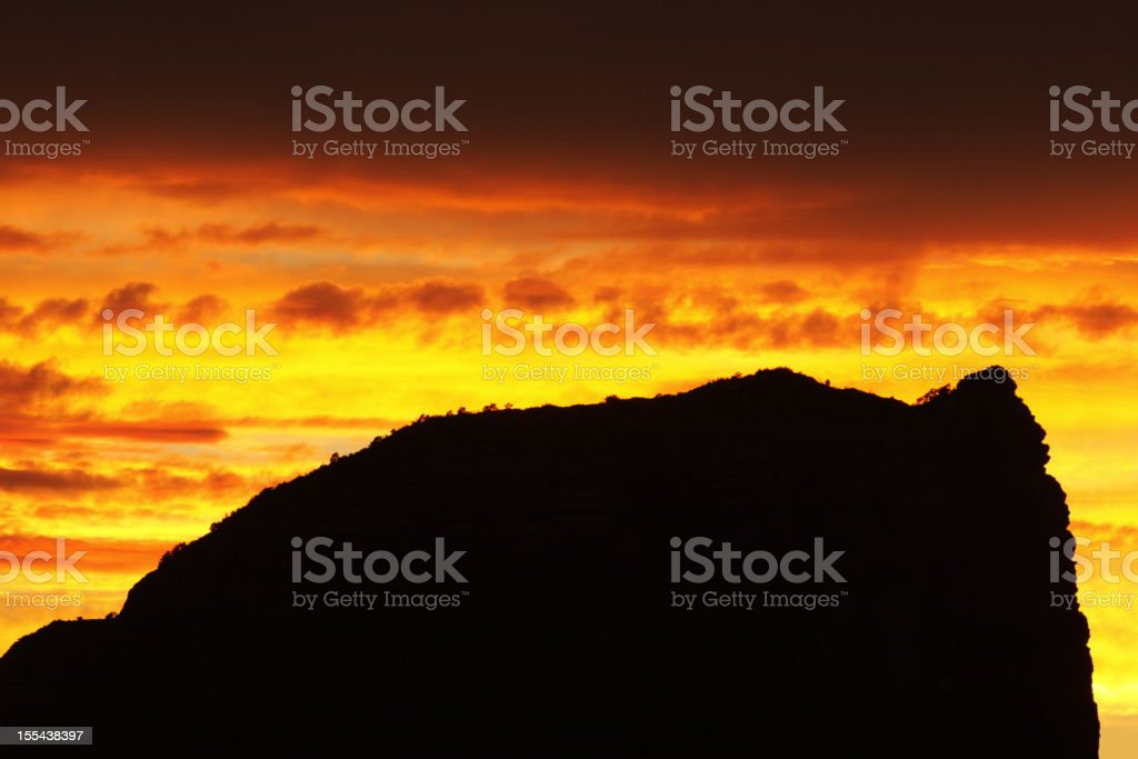 Sunset Silhouette Butte Landscape royalty-free stock photo
