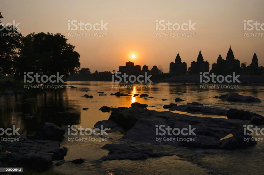 Sunset Silhouette Of Chatris On The Bank Of Betwa River At