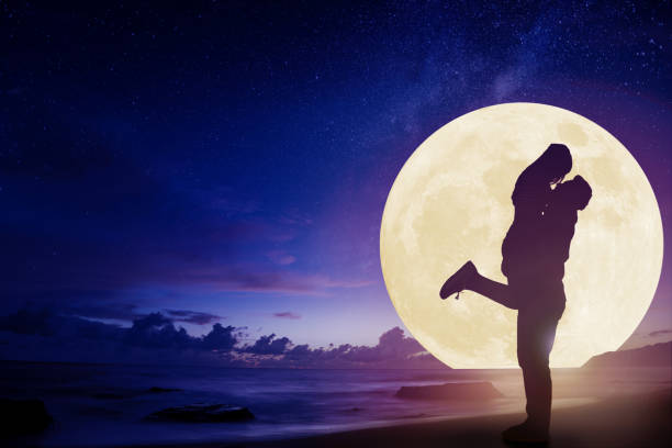 Romance Moonlight Couple Silhouette Stock Photos, Pictures ...