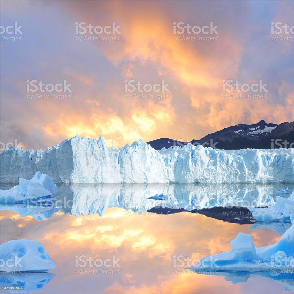 Sunset sky above the glacier. stock photo