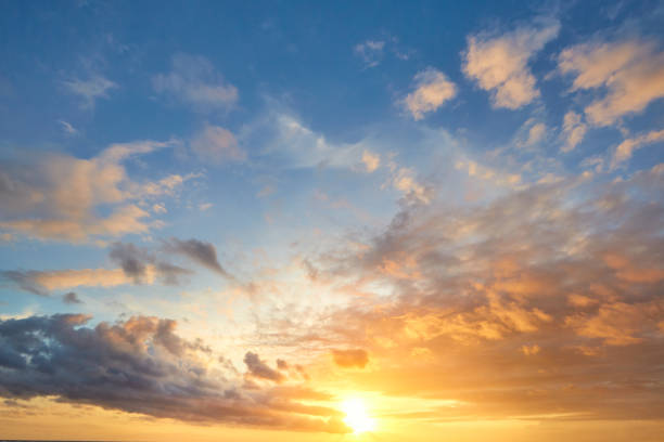 sunset sky background - clouds stock photos and pictures