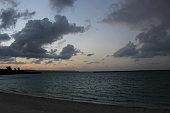 Sunset sky clouds and sea, The beach beside the ocean in Miyako island, Okinawa, Japan