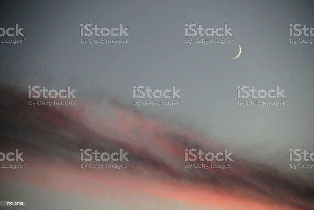 Sunset Sky Dramatic Moon royalty-free stock photo