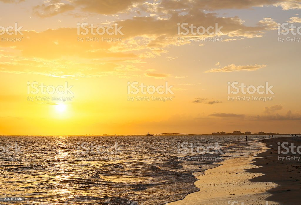Sunset Sky in Fort Myers Beach stock photo