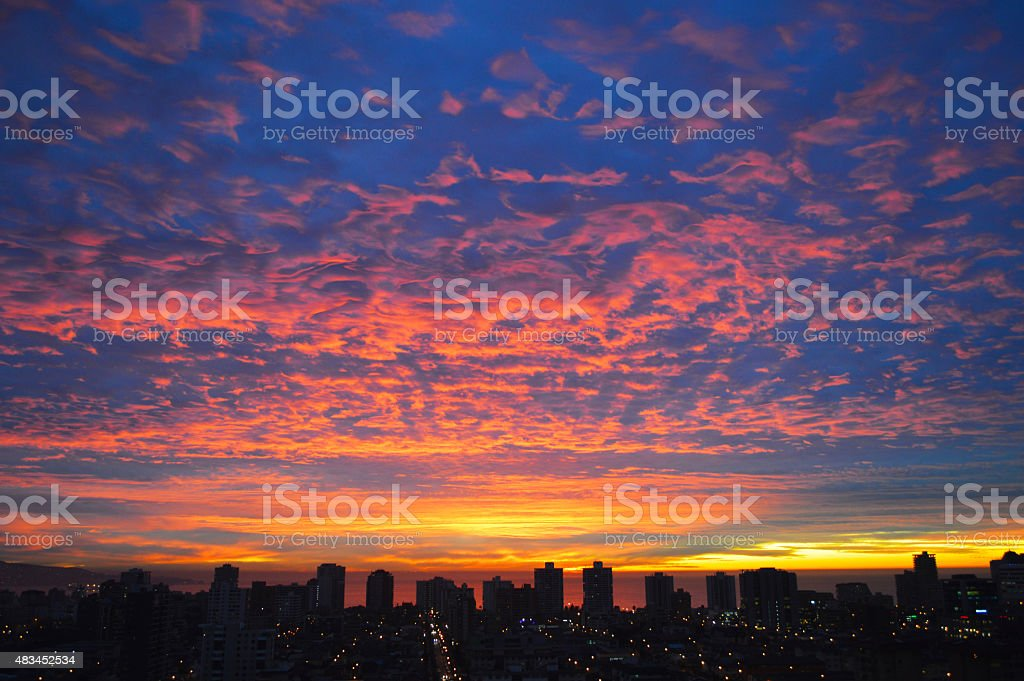 Sunset sky in Viña del Mar Chile royalty-free stock photo