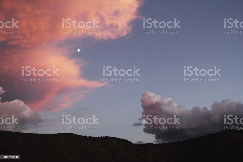 Sunset Sky Moon Mesa Dramatic royalty-free stock photo