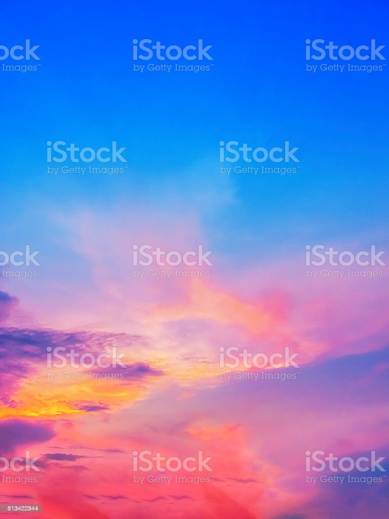 Sunset Sky of mutiple colors. stock photo