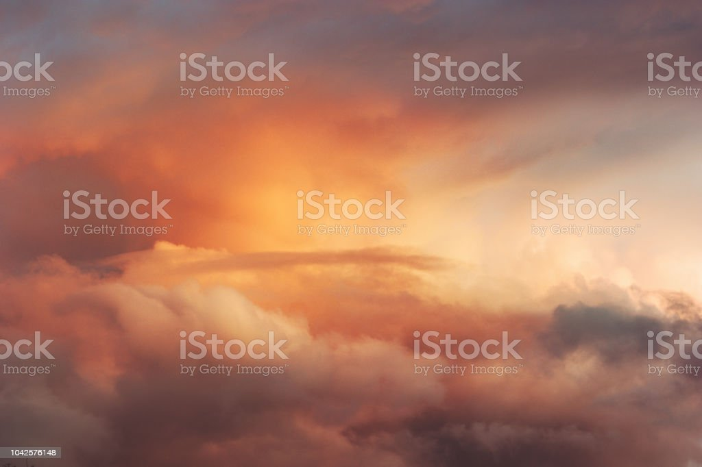 Sunset Sky over clouds Landscape Travel serene tranquil view flying beautiful natural colors - Royalty-free Abstrato Foto de stock