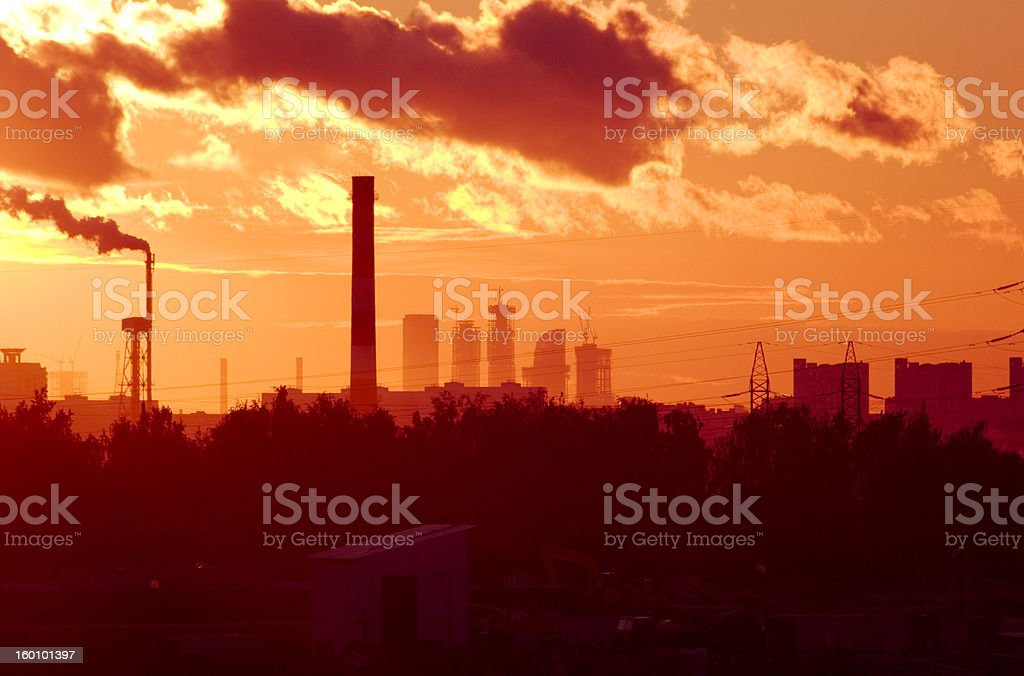 sunset sky over Moscow royalty-free stock photo