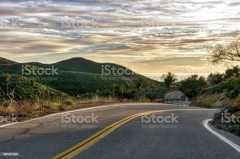 Sunset sky over North American highway. royalty-free stock photo