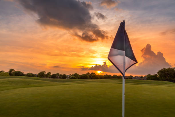 Sunset sky over the fairway of a golf course in Texas stock photo
