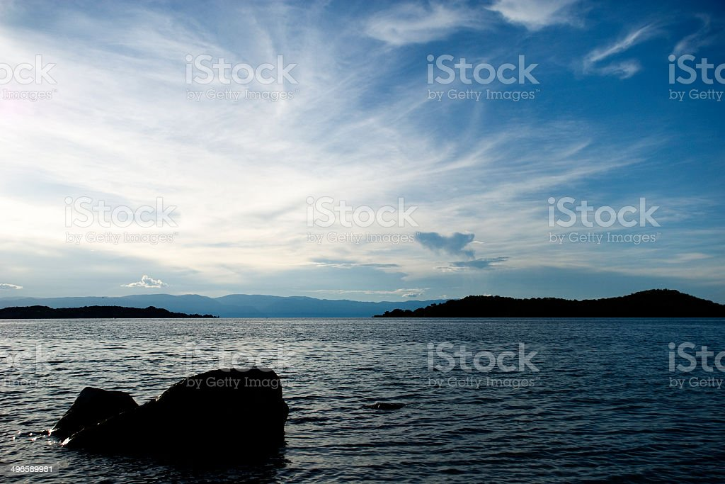 Sunset Sky over the Lake stock photo