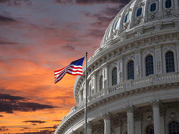 Sunset Sky over US Capitol Building stock photo