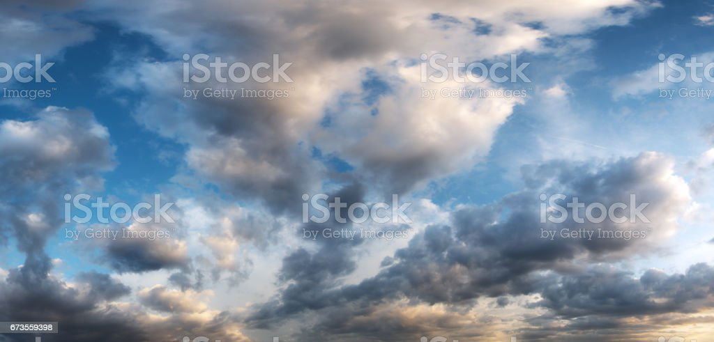 Sunset sky panorama with clouds royalty-free stock photo