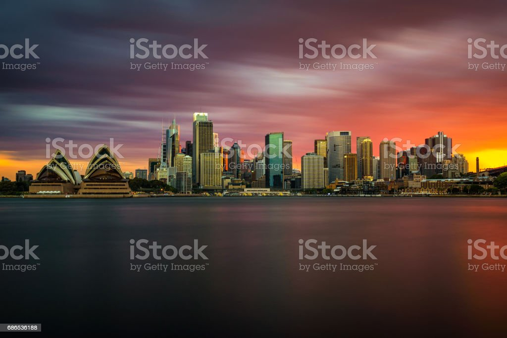 Sunset skyline of Sydney downtown  with Opera House, NSW, Australia royaltyfri bildbanksbilder