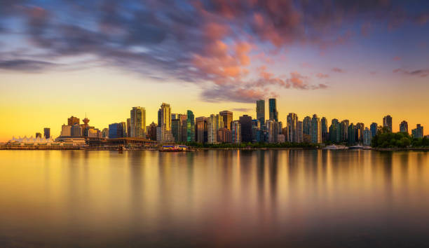 sunset skyline of vancouver downtown from stanley park - british columbia stock pictures, royalty-free photos & images