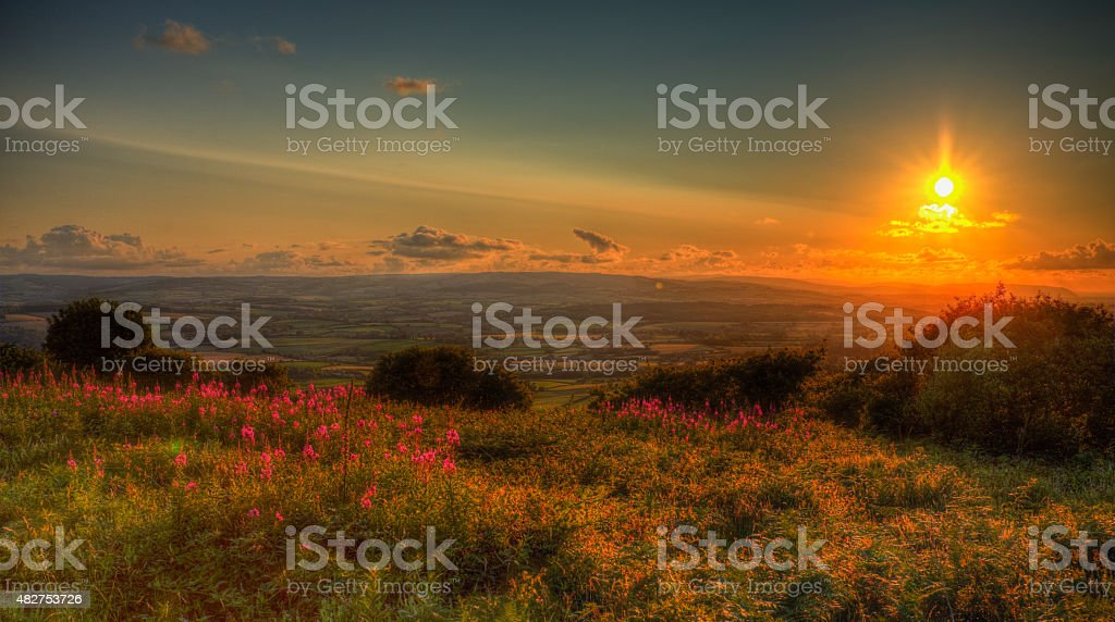 Sunset Somerset England from Quantocks to Blackdown Hills HDR stock photo