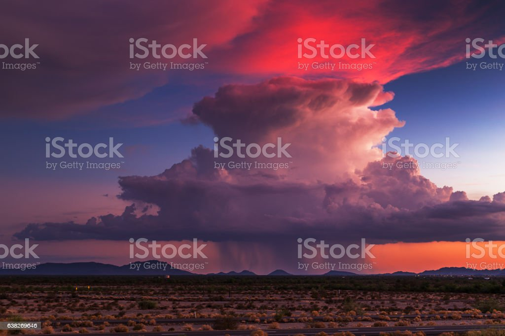 Sunset storm clouds stock photo