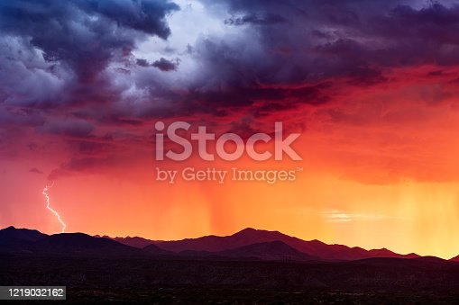 1039163636 istock photo Sunset storm clouds with lightning strike 1219032162