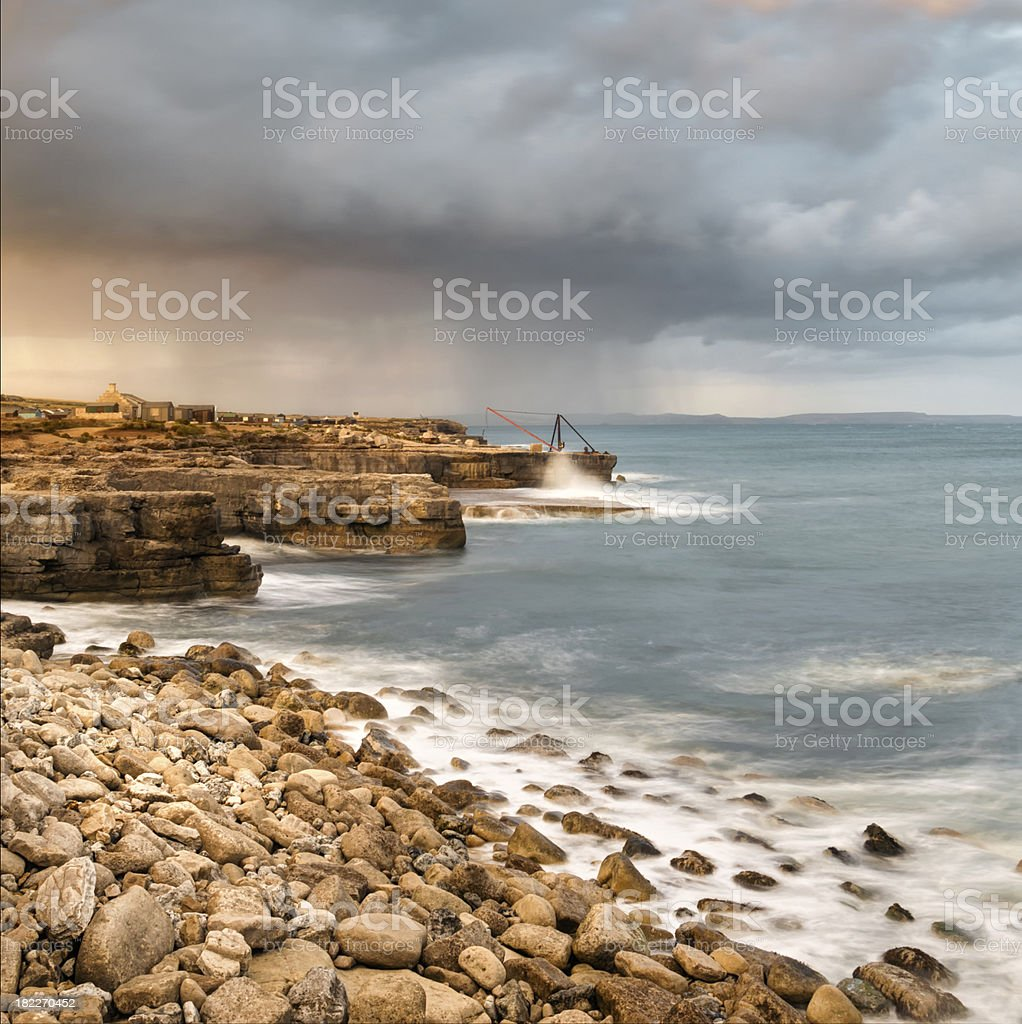 Sunset Storms at Portland Bill stock photo