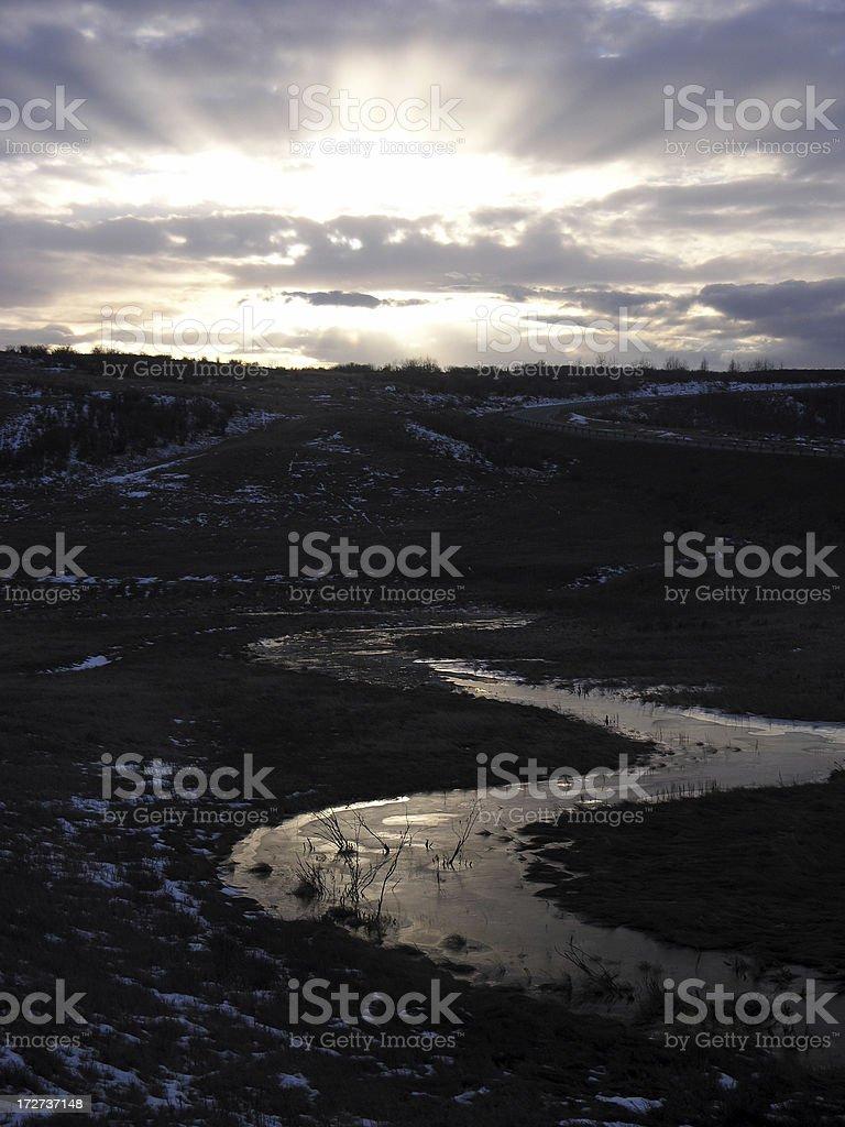Sunset Stream stock photo
