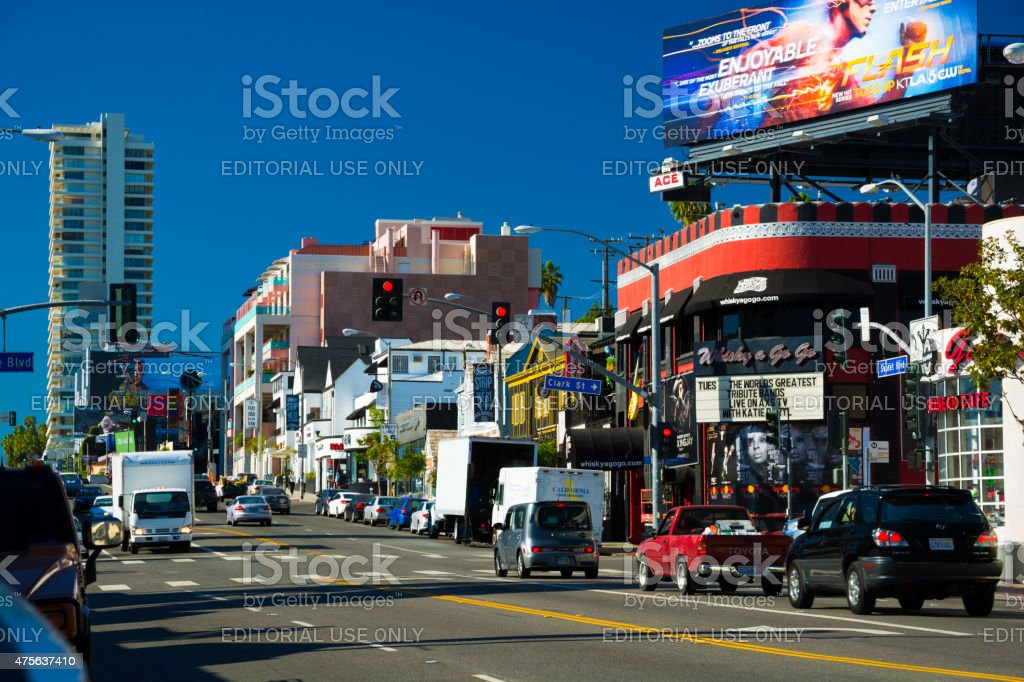 Sunset Strip Street view in West Hollywood, Los Angeles County - Stock  image .