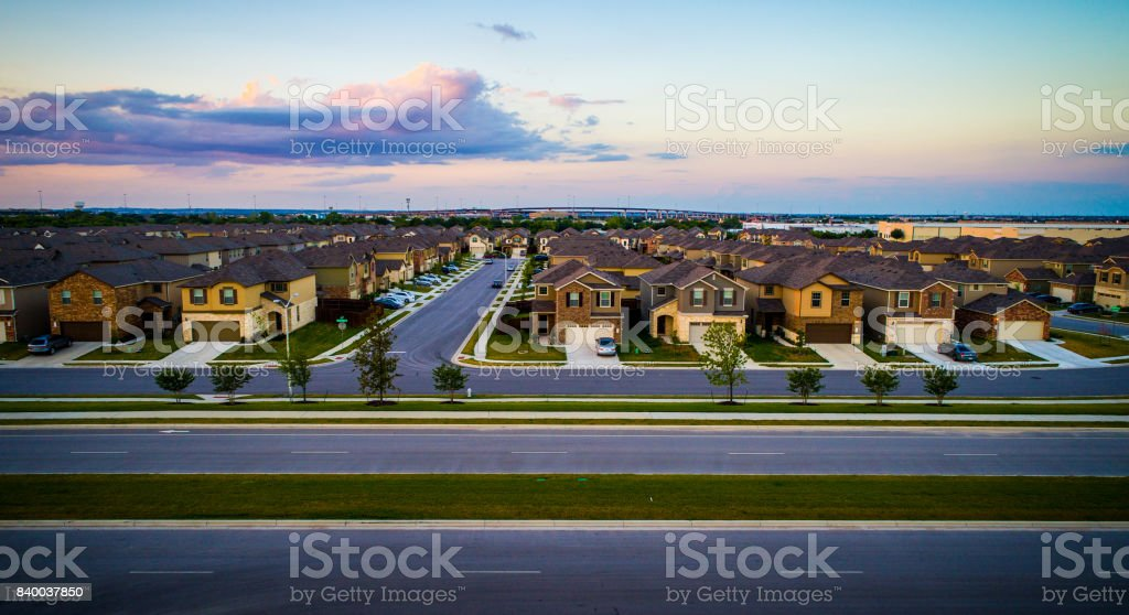 Sunset Suburbia stock photo