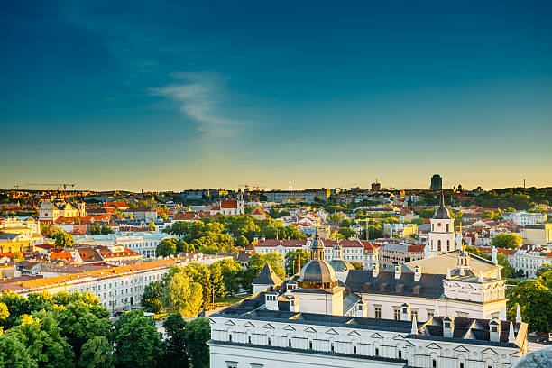 Sunset Sunrise Cityscape Of Vilnius, Lithuania In Summer. Beauti stock photo