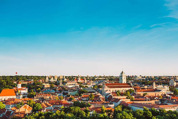 Sunset Sunrise Cityscape Of Vilnius, Lithuania In Summer. Beautiful stock photo