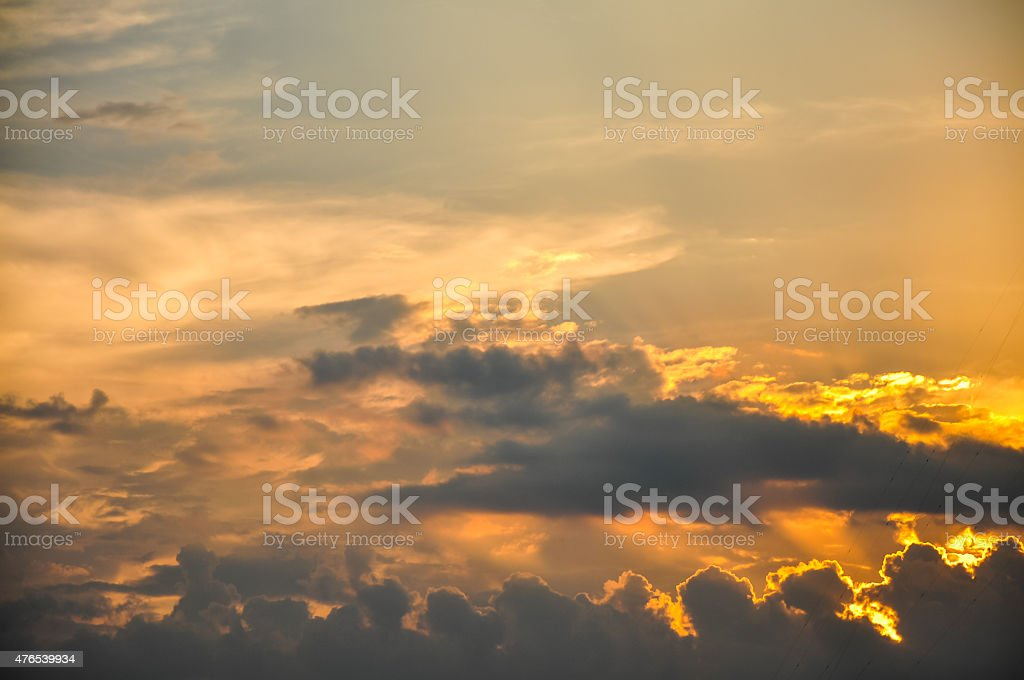 Sunset / sunrise with clouds stock photo