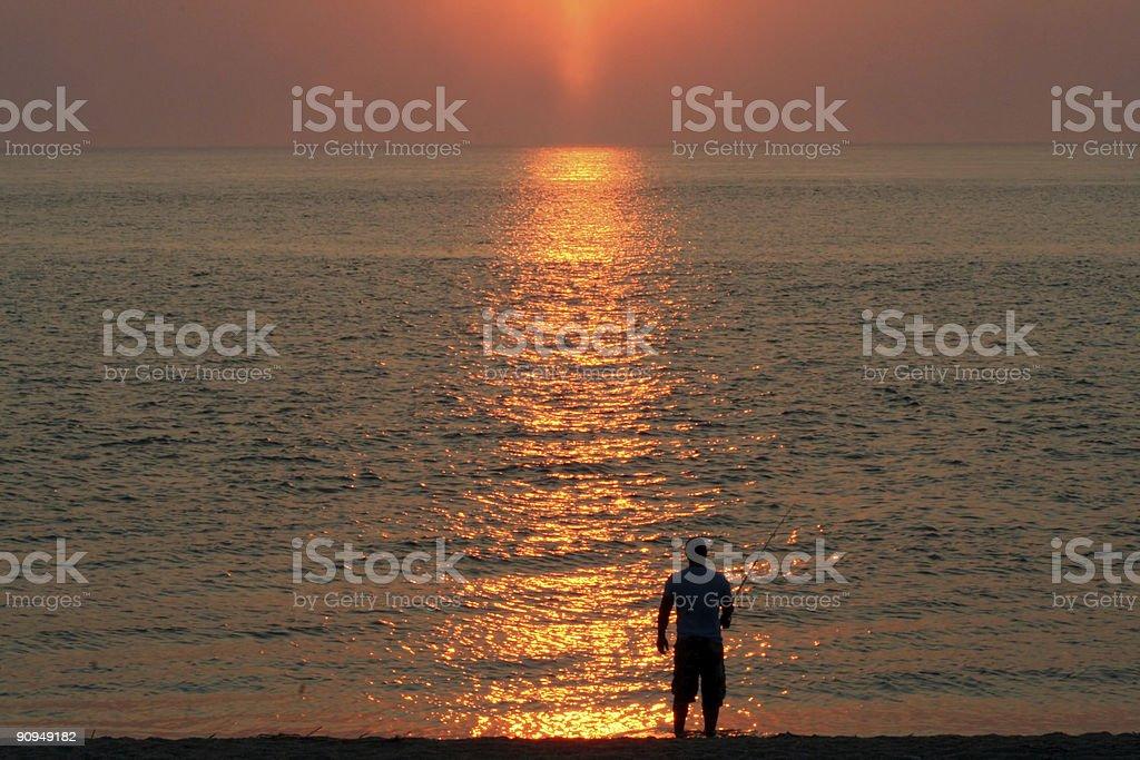 Sunset Surf Fishing Two royalty-free stock photo