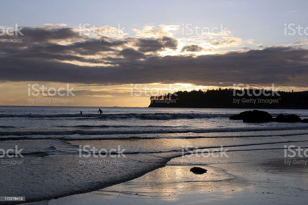 Sunset surfer on Makah Bay stock photo