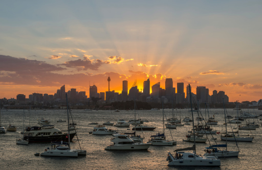 Sunset Sydney city CBD