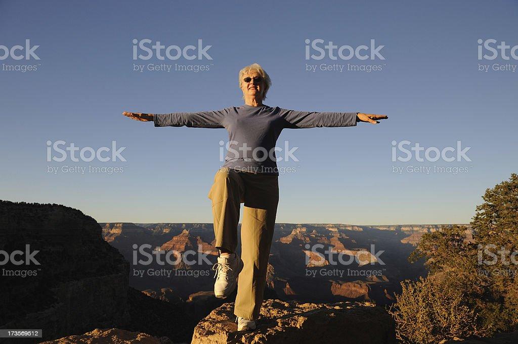 Sunset Tai Chi at the Grand Canyon stock photo