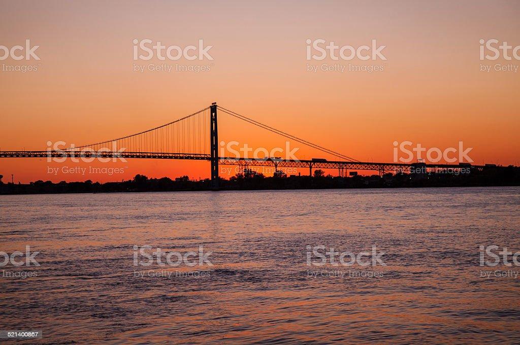 Sunset the Ambassador Bridge stock photo