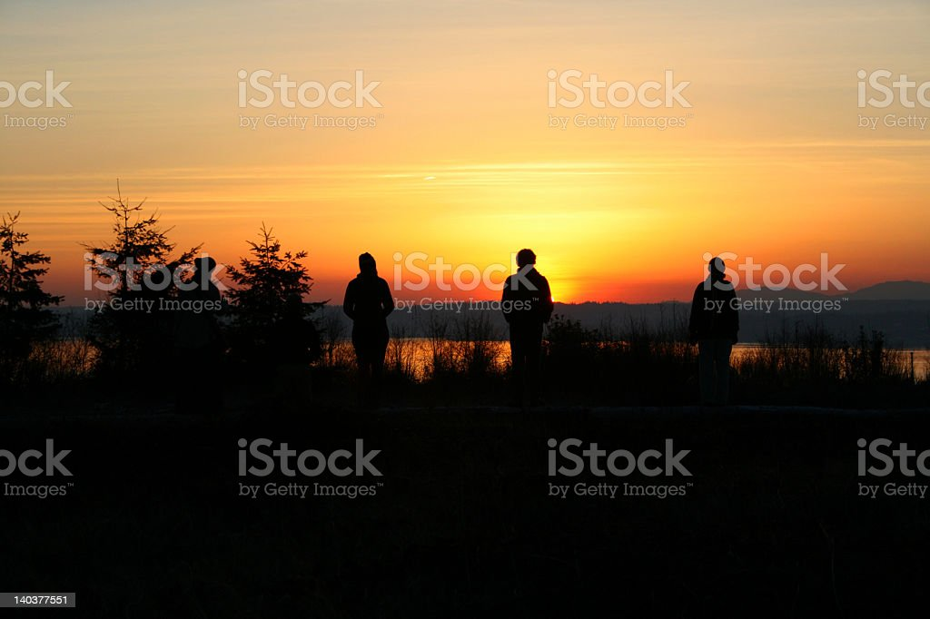 Sunset Thinkers royalty-free stock photo