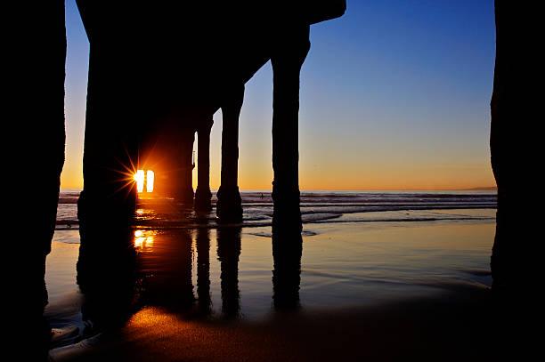 Sunset Through the Manhattan Beach Pier stock photo