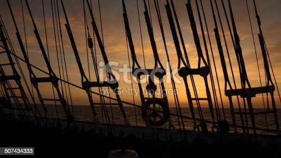 sunset through the rigging of an old sailing ship