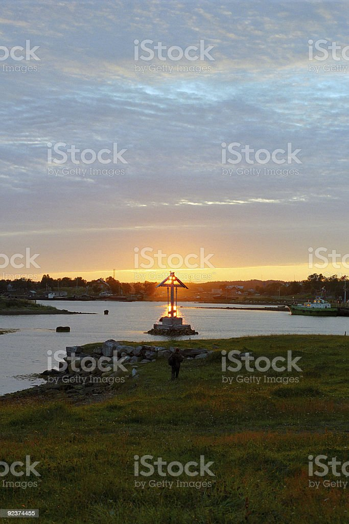 sunset throughout the cross royalty-free stock photo