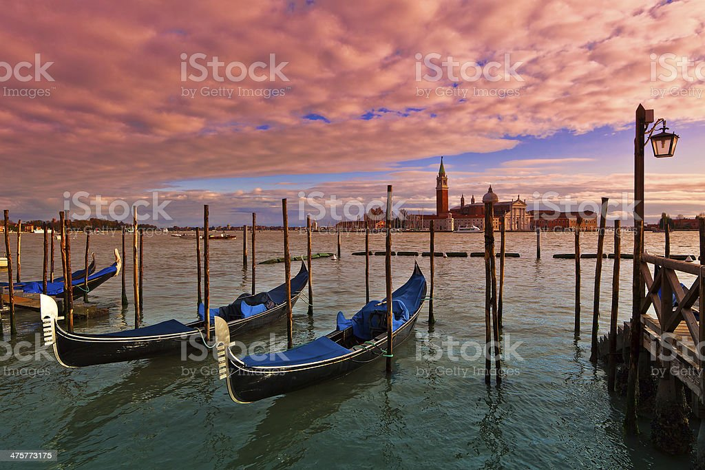 Sunset time in Venice, Italy. royalty-free stock photo