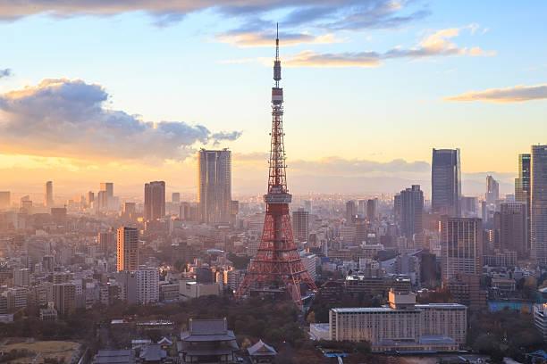 sunset Tokyo Tower in Tokyo, Japan. stock photo