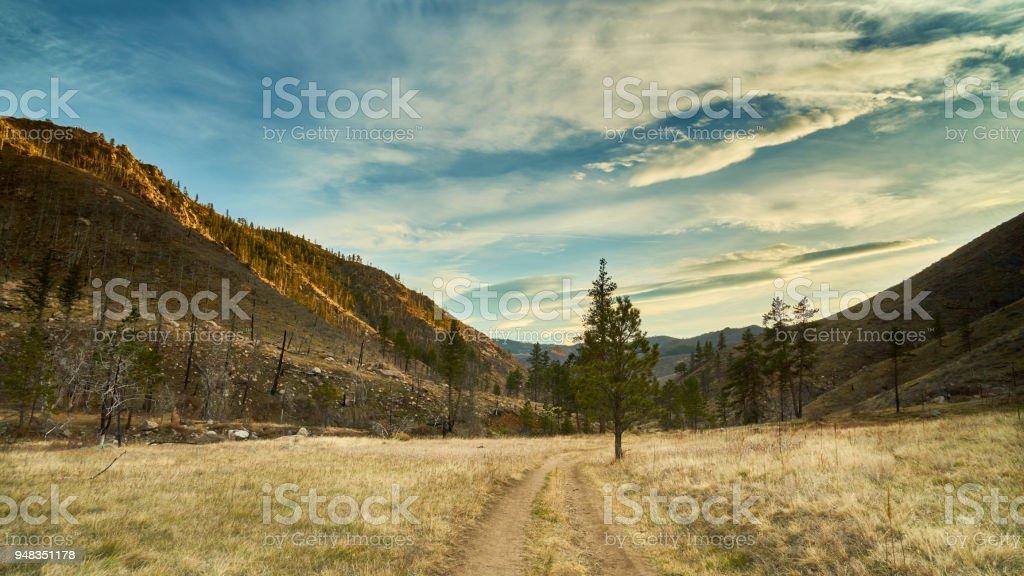 Sunset trail colorado stock photo
