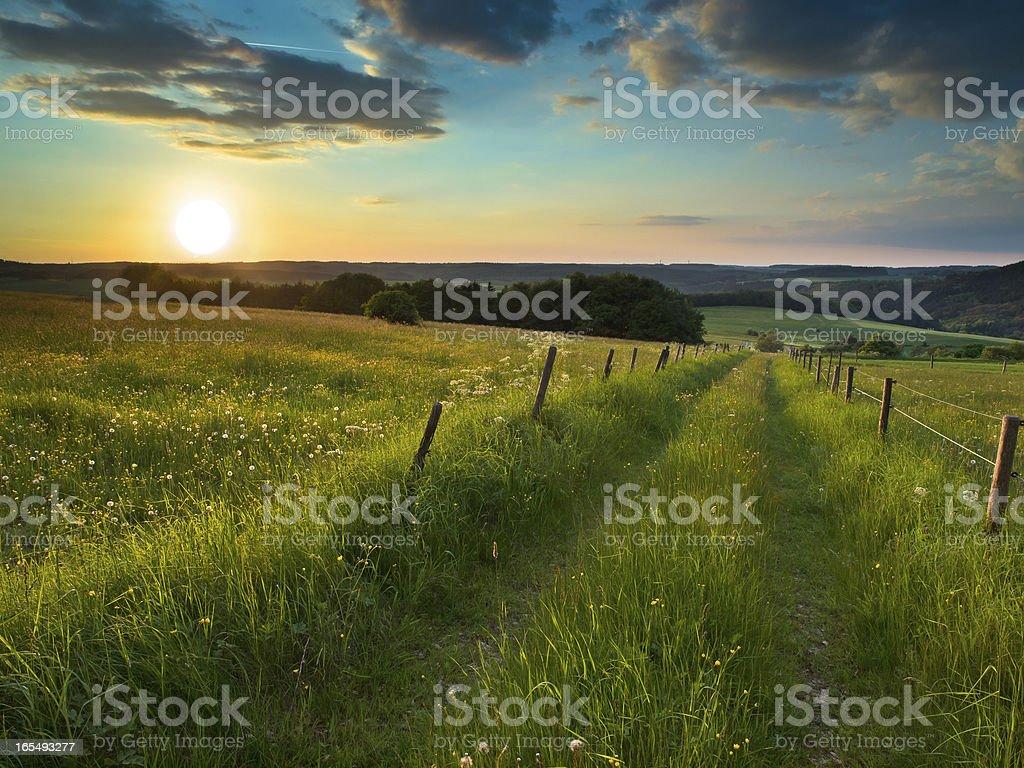 sunset trail stock photo