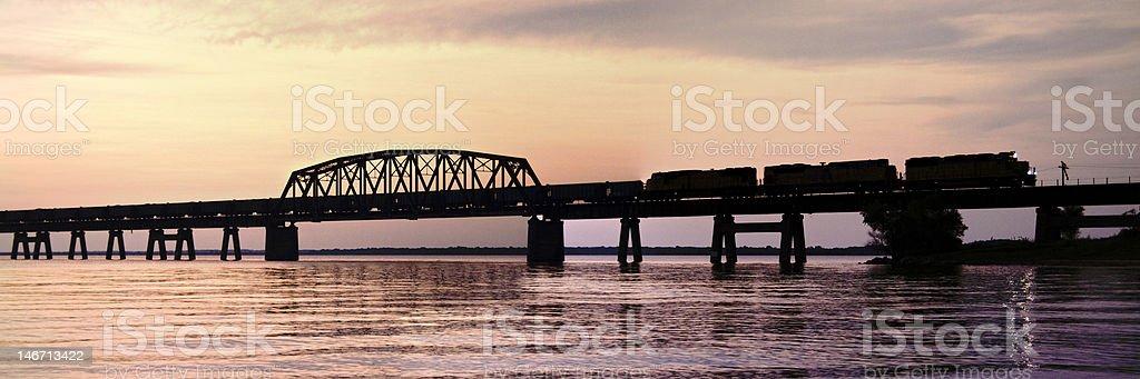 Sunset Train Panorama over the Lake stock photo