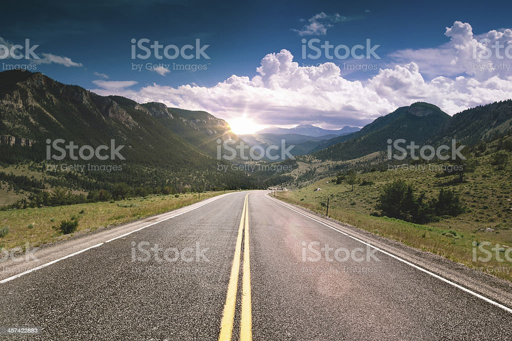 Sunset travelling in Wyoming stock photo