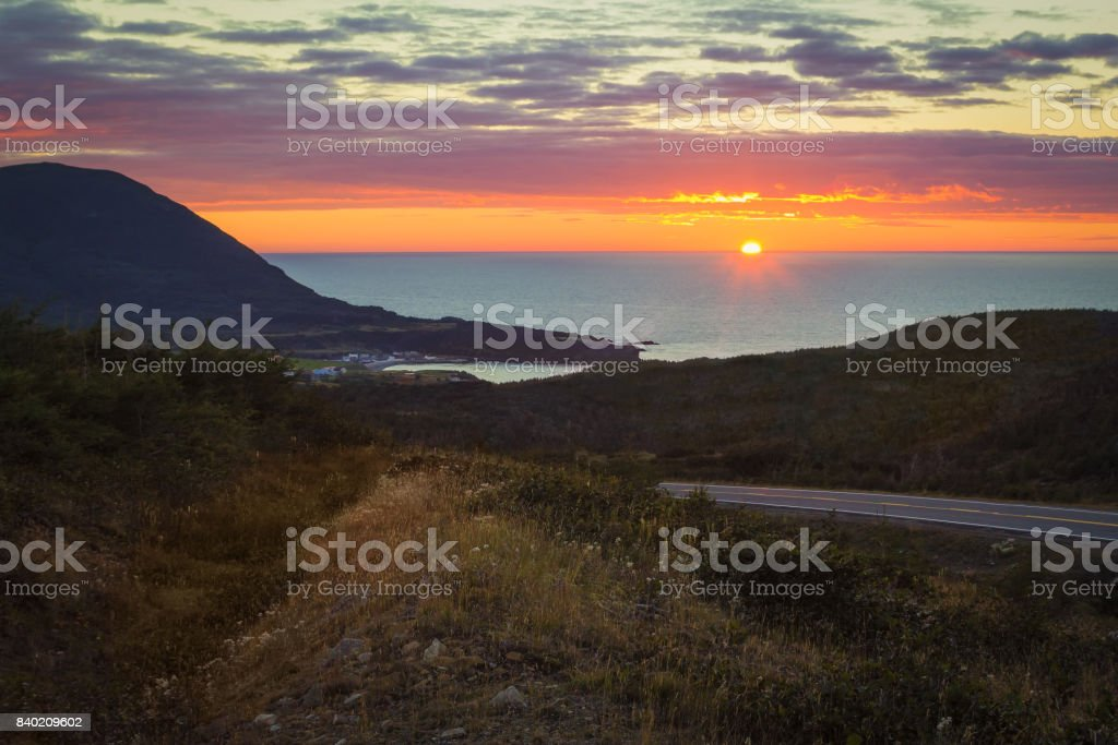 Sunset , Trout River stock photo