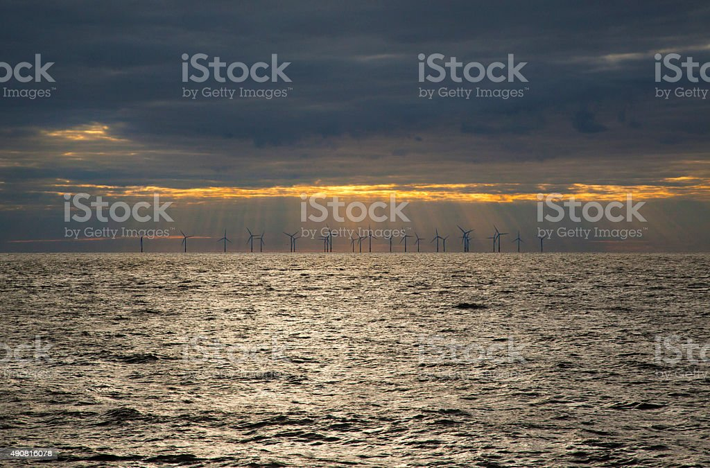 Sunset Turbines royalty-free stock photo
