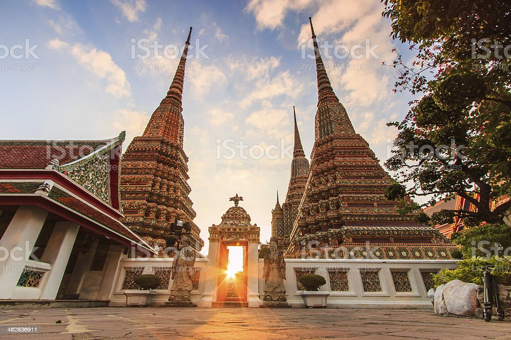 Sunset twilight Buddhist temple, Wat Pho in Bangkok ,Asia Thailand stock photo
