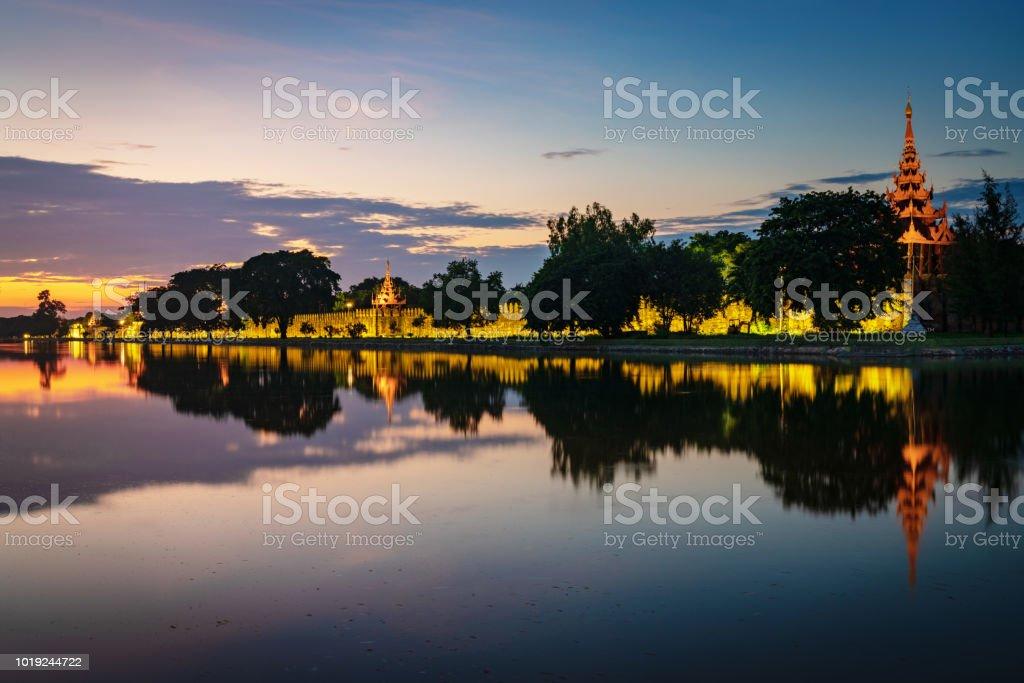 Sunset Twilight Mandalay City Fort Royal Palace Myanmar Burma stock photo
